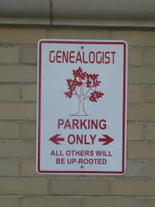 Genealogy Parking Sign